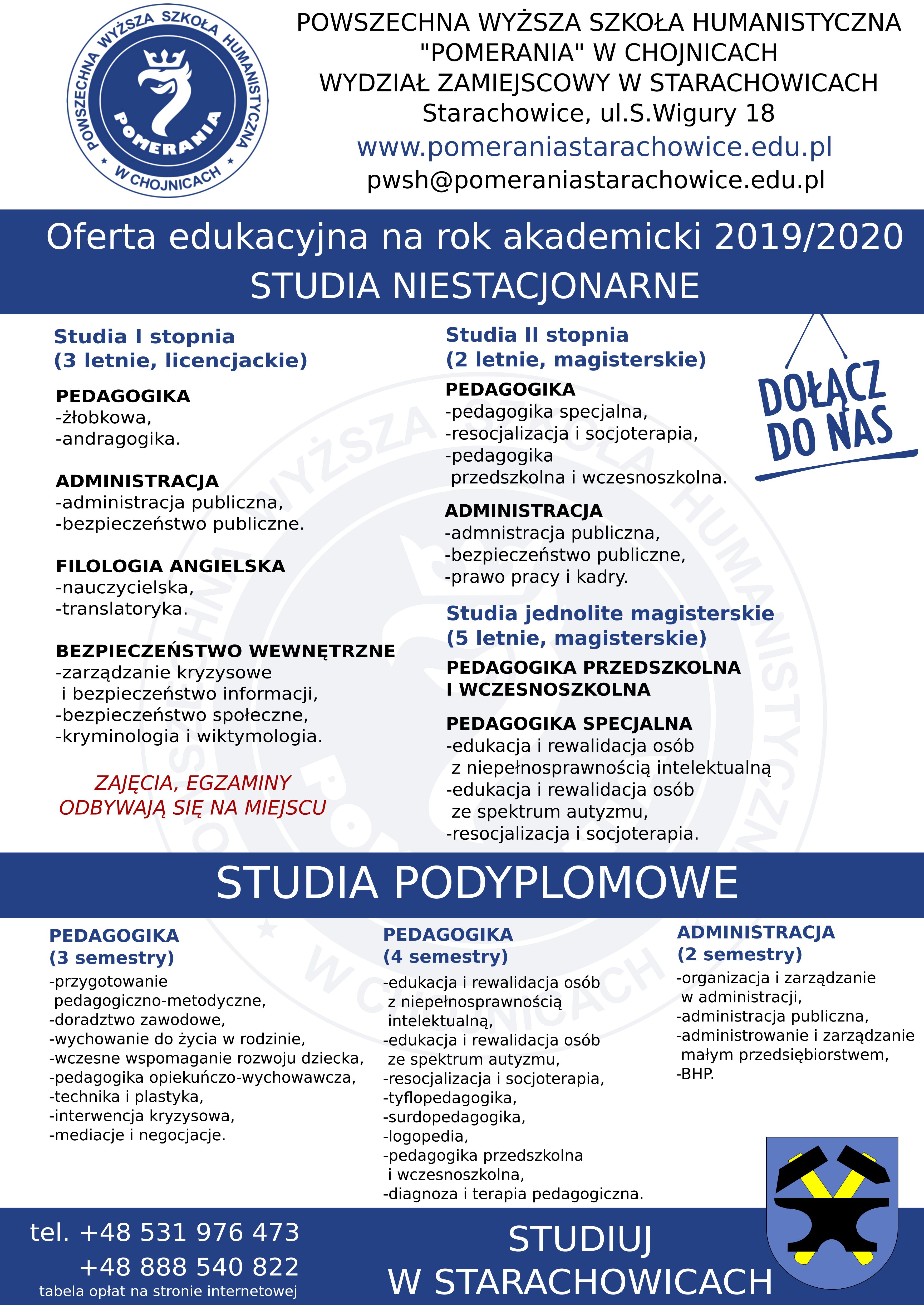 Rekrutacja 20192020 Starachowice Wydział Zamiejscowy
